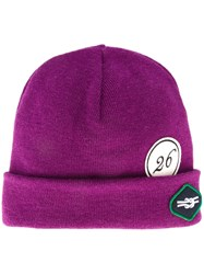 Raf Simons Patched Beanie Pink And Purple