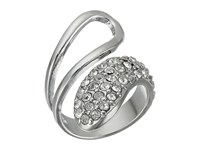 Guess Half Open Half Pave Bypass Ring Silver Crystal Ring