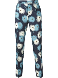 Valentino Floral Print Slim Fit Trousers Blue