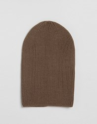 Asos Slouchy Beanie In Mink Twist Mink Twist Brown