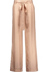 Juan Carlos Obando Beyamo Striped Silk Wide Leg Pants Peach