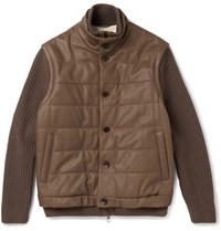 Loro Piana Convertible Leather And Cahmere Jacket Chocolate