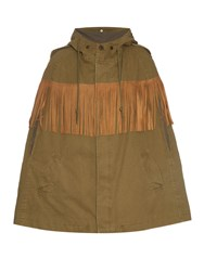 Saint Laurent Suede Fringed Cotton Canvas Cape
