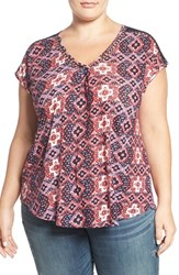 Lucky Brand Plus Size Women's Lace Inset V Neck Top