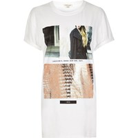 River Island Womens White New York Print Boyfriend T Shirt