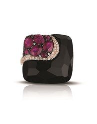 Marco Moore Diamond Black Onyx Ruby And 14K Rose Gold Ring Purple