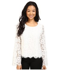 Vince Camuto Bell Sleeve Scallop Edge Lace Blouse New Ivory Women's Blouse Bone