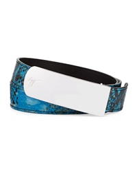 Giuseppe Zanotti Men's Crocodile Stamped Plaque Belt Blue