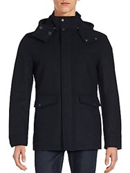 Cole Haan Wool Blend And Faux Fur Lined Coat Black