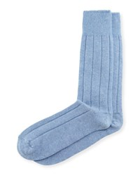Neiman Marcus Cashmere Blend Ribbed Socks Lt Blue