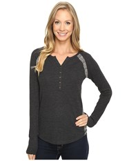 Lucky Brand Pieced Thermal Top Jet Black Women's Clothing