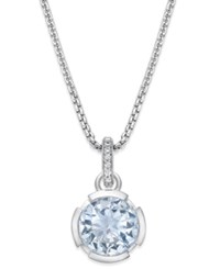 Thomas Sabo Blue Crystal Pendant Necklace In Sterling Silver