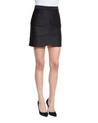 Co Scalloped Satin Mini Skirt Black