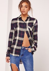 Missguided Pocket Front Check Shirt Navy Black