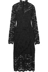 Ganni Flynn Stretch Lace Turtleneck Dress Black