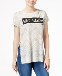 Hybrid Juniors' Clueless Way Harsh Graphic T Shirt Light Grey