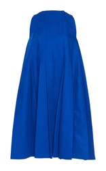 Paule Ka Bonded Cotton Sleeveless Pleated Flared A Line Dress Royal Blue