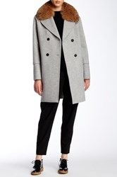 Vince Wool Blend Removable Genuine Coyote Fur Collar Peacoat Gray