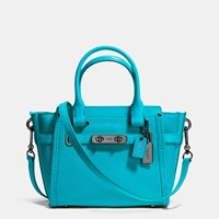 Coach Swagger 21 Carryall In Pebble Leather Dark Gunmetal Turquoise