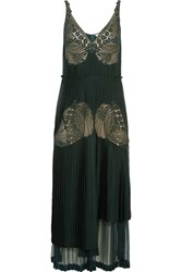 Stella Mccartney Dondini Lace Paneled Pleated Satin Dress Forest Green