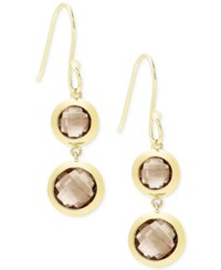 Victoria Townsend Smokey Quartz Double Drop Earrings 10 Ct. T.W. In 18K Gold Plated Sterling Silver Yellow Gold