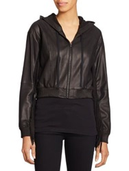 Elizabeth And James Fringe Trim Leather Jacket Black