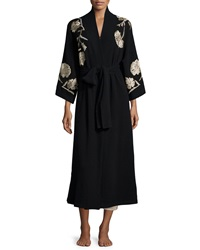 Josie Natori Embroidered Cashmere Robe Black