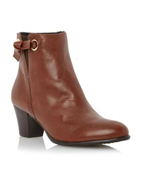 Episode Pascale Knot Detail Leather Ankle Boots Brown