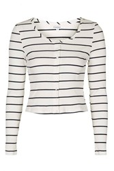 Striped Long Sleeve Crop By Glamorous White