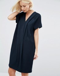 Selected Fikka Dress With Pleat Detail At Neckline Navy