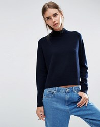 Asos White 100 Cashmere Turtle Neck Jumper Navy