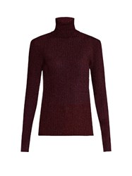Vanessa Bruno Freely Roll Neck Ribbed Knit Sweater Burgundy
