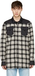 Off White Black And Quilted Flannel Shirt