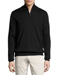 Neiman Marcus Half Zip Wool Blend Cardigan Black