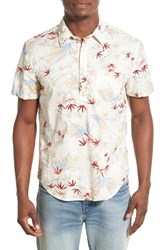 Men's Lucky Brand Short Sleeve Leaf Print Pullover Woven Shirt