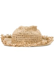 Dsquared2 Woven Straw Hat Nude And Neutrals