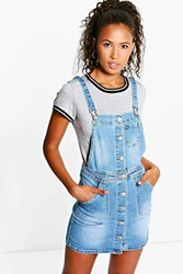 Boohoo Denim Dungaree Dress Blue
