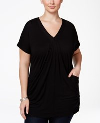 Inc International Concepts Plus Size V Neck Tunic Black