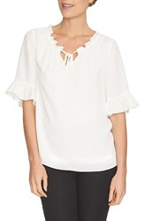 Women's Cece By Cynthia Steffe Ruffle Trim Tie Neck Blouse Light Cream