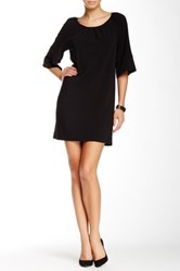 Glam Solid Elbow Sleeve Dress Black