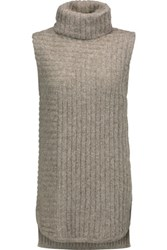 Theory Beylor Ribbed Knit Turtleneck Sweater Stone