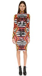 Ktz High Neck Body Con Dress Red Multi