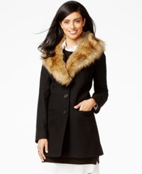Inc International Concepts Faux Fur Trim Shawl Collar Coat Only At Macy's Black