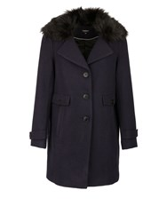 Morgan Wool And Cotton Mix Coat Navy