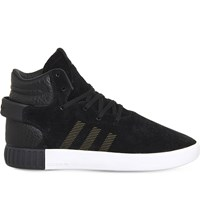 Adidas Tubular Invader Suede And Leather Mid Top Trainers Black Black White