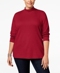 Karen Scott Plus Size Mock Neck Top Only At Macy's New Red Amore
