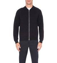 Paul Smith Ps By Waffle Knit Merino Wool Cardigan Navy