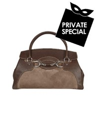 Buti Dark Brown Classic Suede And Leather Satchel Handbag