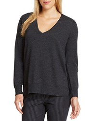 424 Fifth Merino Wool V Neck Pullover Charcoal Heather