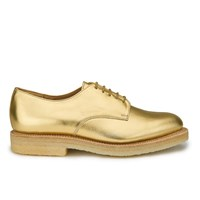 Ymc Women's Solovair Lace Up Leather Crepe Sole Derby Shoes Gold Leather